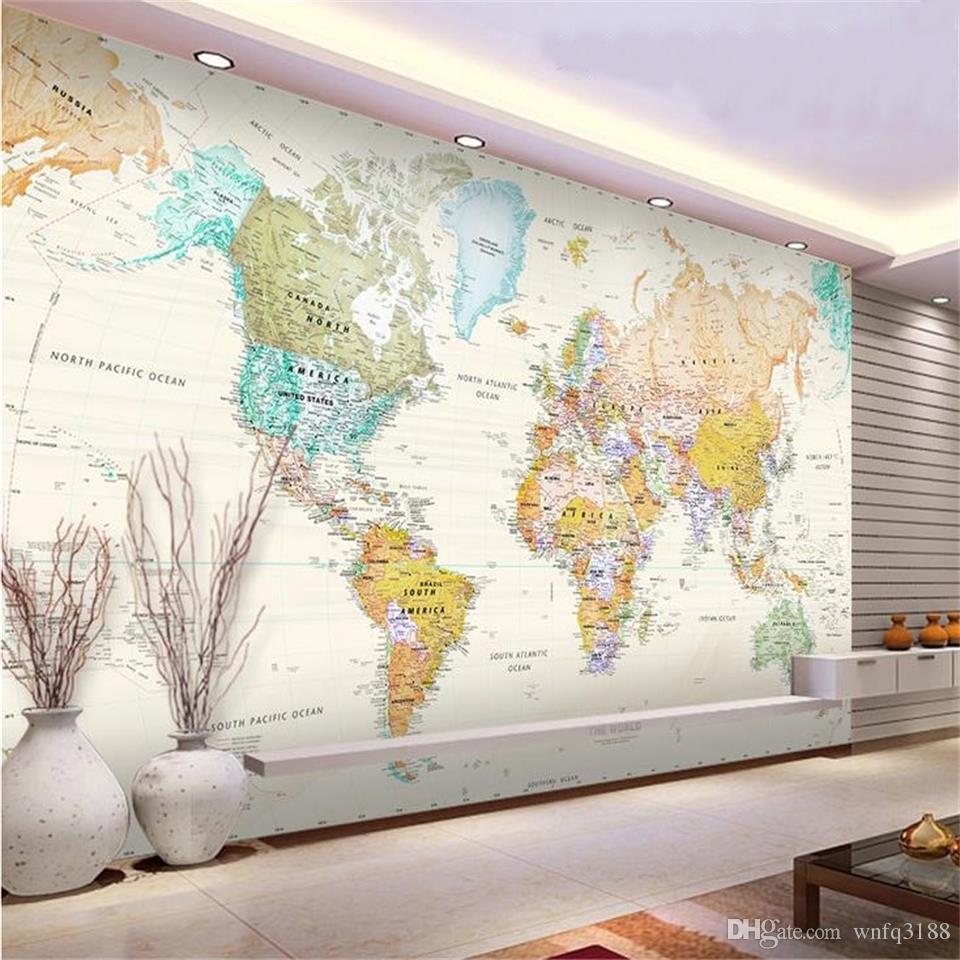 custom 3d photo wallpaper living room mural pale-coloured world map 3d picture painting sofa TV background wallpaper non-woven wall sticker
