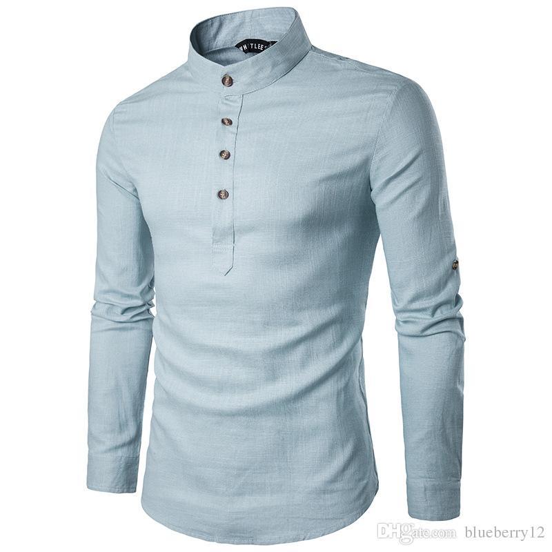 Solide Casual Lin Hommes Chemises Hommes Manches Longues Chemises Chemise Coton Chemise Hommes Chemise Plus La Taille Slim Fit Homme