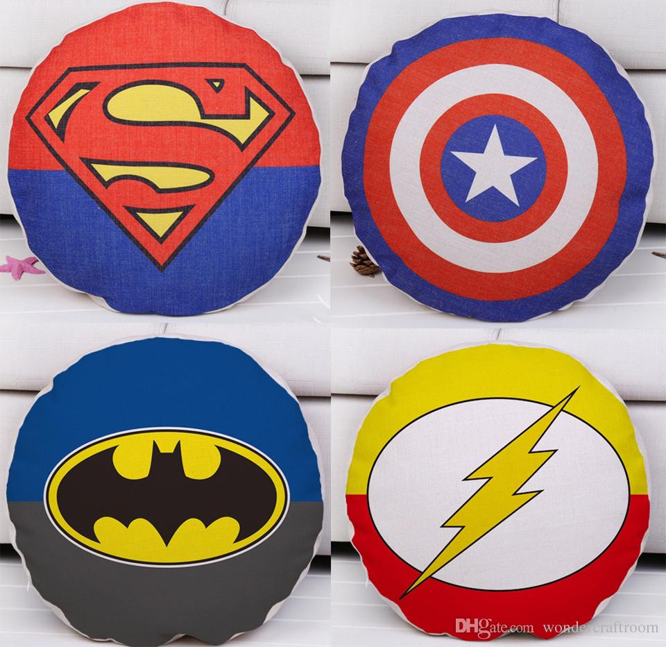 The Avengers Super Hero Cushion Cover Superman Captain America Batman The  Flash Cushion Covers Decorative Linen Cotton Round Pillow Case Cushions For  ...