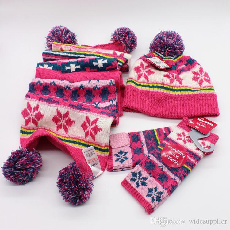Жаккард beanies комплект шарф перчатки шляпа набор три части зимой детский шарф шляпа двух частей детей детей 2-7Y зимние шапки