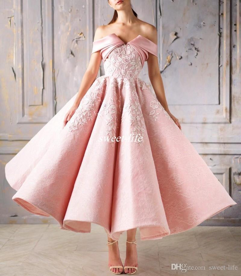 Off The Shoulder Vintage Pink Prom Dress Lace Applique Tea