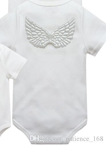 INS 2 stilleri Yeni Gelenler Sıcak satmak bebek kız Yaz Çiçek Baskı ve Melek kanatları romper bebek giyim kız romper 0-2 T