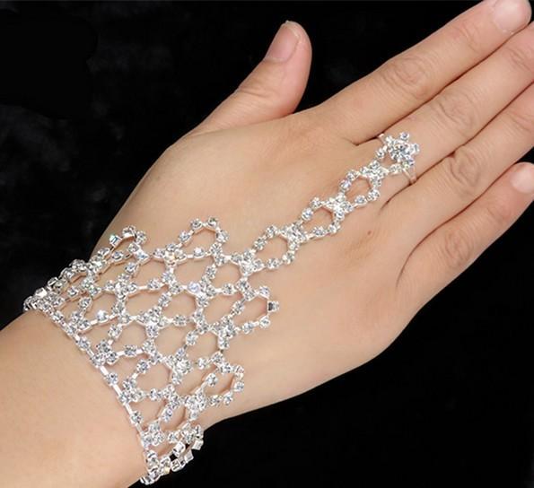 Wedding Jewelry Rhinestone Finger Ring Hand Harness Hand Harness Bangle Bridal Finger Ring Hand Bracelets