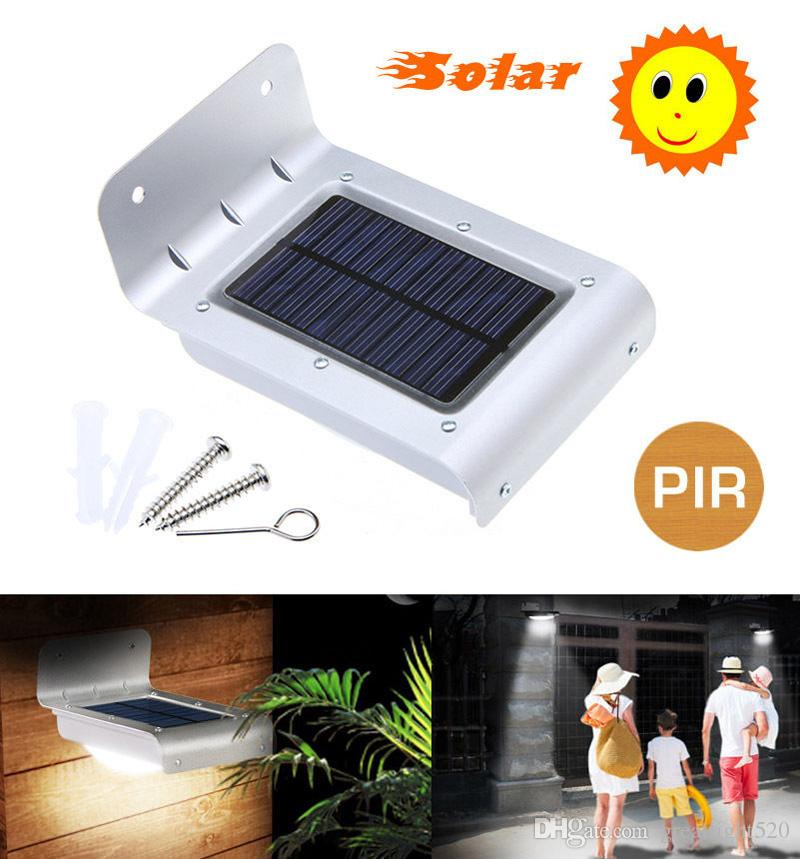 pir motion sensor light waterproof solar powered led light lamp 16leds outdoor wireless solar wall lights for garden yard outdoor etc from