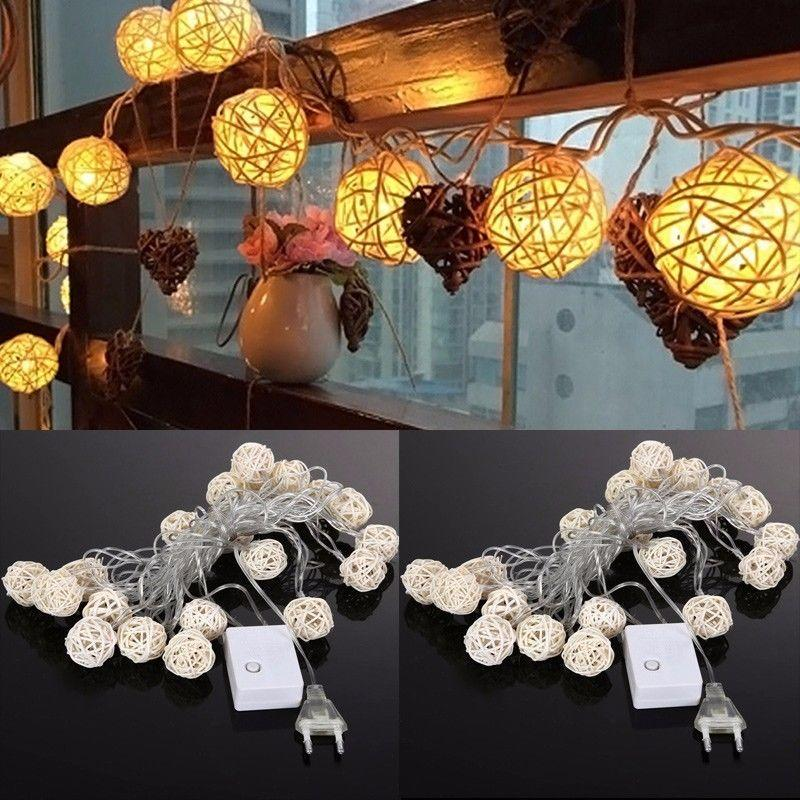 wholesale 45m 20 3cm wicker rattan ball socket string light christmas lamp party 8 mode string of lights outdoor outdoor string of lights from stylenew