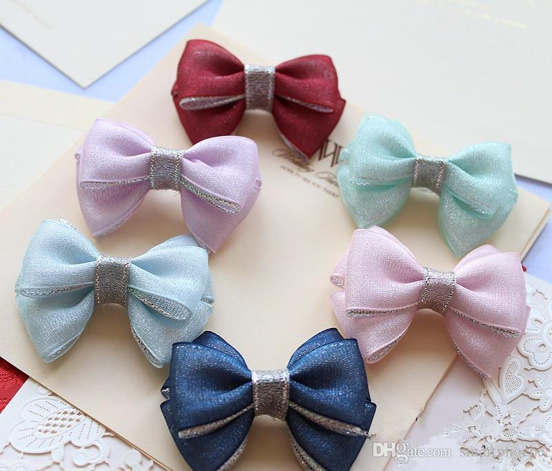 Wholesale 6C Fashion Glitter Gauze Hair Bow Baby Girls Hair Clips Solid Cute Bowknot Girls Hairpins Princess Hair Accessories