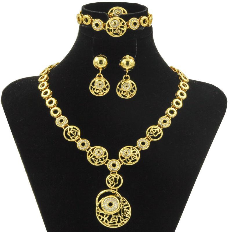 2017 Fashion Gold Plated Jewelry Sets Dubai 18K Gold Plated Choker