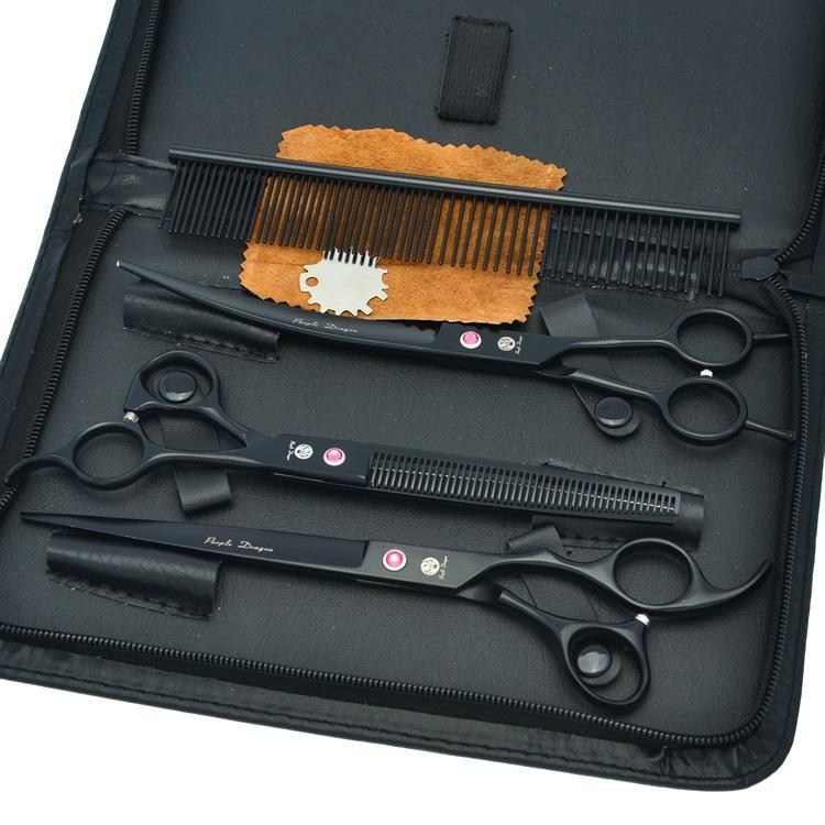 8.0Inch Purple Dragon Tesouras Professional Forbici cani grooming JP440C Forbici da taglio Thinning Forbici Curved Shears, LZS0376
