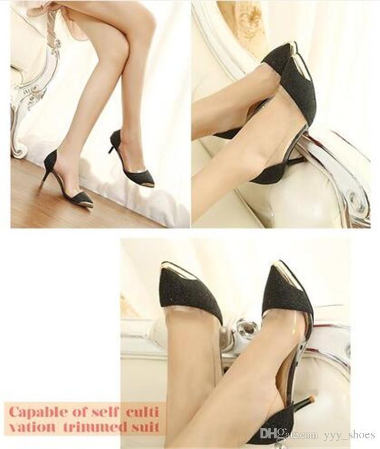 Matrimonio Banchetto Prom Single Shoes Womens scarpe a punta Scarpe Laurea Tacchi alti Lady Tacchi a spillo 6,5 cm Glitter trasparente