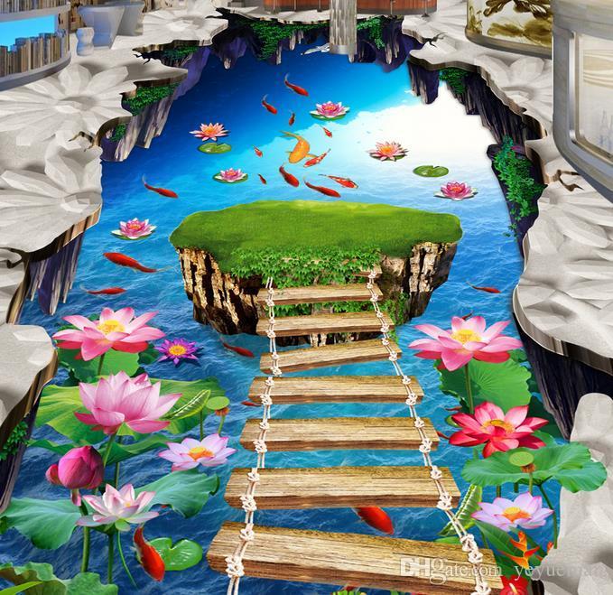 Wasserdichte Umweltschutz 3D PVC Bodenbelag wasserdicht selbstklebende Tapete anpassen HD Lotus Karpfen Vinyl Bodenbelag Badezimmer