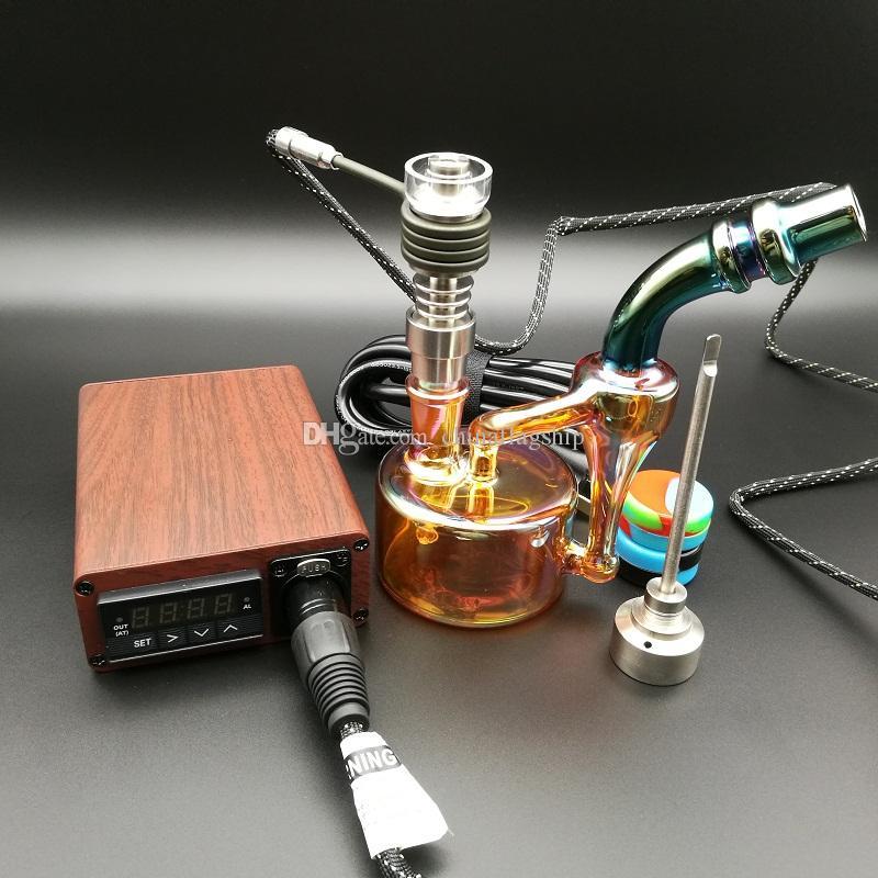 E Kit unghie digitale Elettrico unghie colore del legno TC PID box Dabber Dab rig Domeless Titanio carb con olio rig bong
