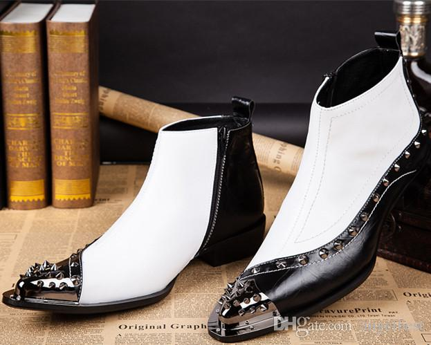 Pointed Toe Patchwork Men Boots Black White Metal Toe Rivets Boots For Men Wedding Busimess Shoes Western Style Motorcycle Boots Plus Size