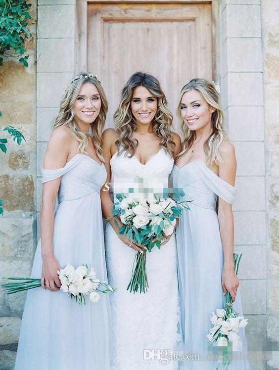 Hell Himmelblau Chiffon Brautjungfernkleider 2019 Schulterfreies Strand Boho Lange Hochzeitsgast Party Kleider Robes de demoiselles d'honneur