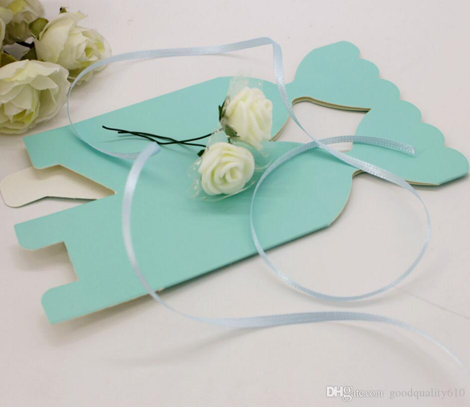12*5*5cm PE Rose Flower Candy Box Chocolates Boxes With Ribbon For Wedding Party Baby Shower Favor Gift