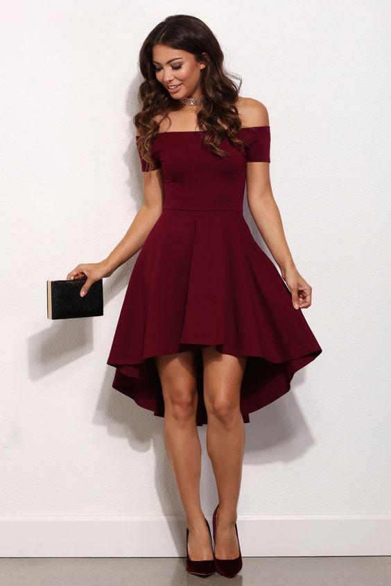 New Burgundy Cocktail Dresses Short Front Long Back Off Shoulder ...