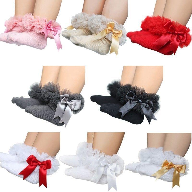 Rosa Socken Baby Frilly Lace Low Cut Knöchelhoch Baumwolle Tutu Socken Taufe Hochzeit neugeborenes Baby Socken