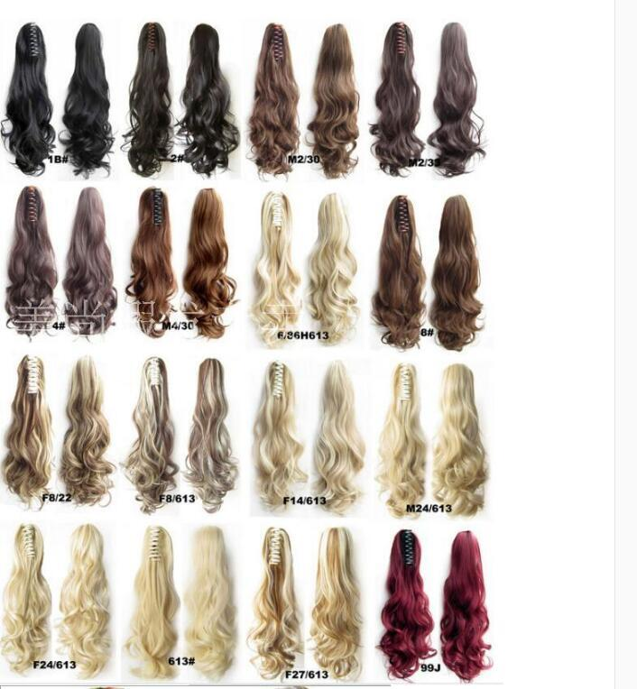 "22"" 180g Claw Pony tail Ponytail Clip In On Hair Extension Wavy Curly Style 18 Colors JACEN HAIR"