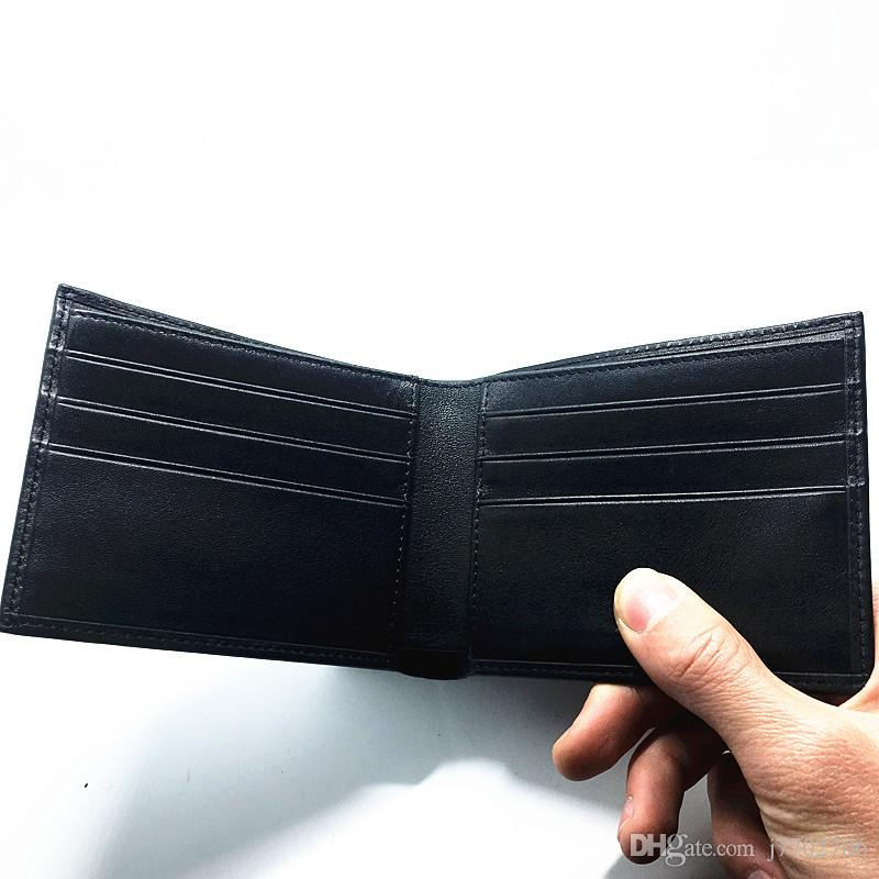 Fashion Classic Black Fold Design Star Mens Cross Wallets Purses 100% Genuine Leather Smooth Wallet For Mans With Credit Card ID Holders