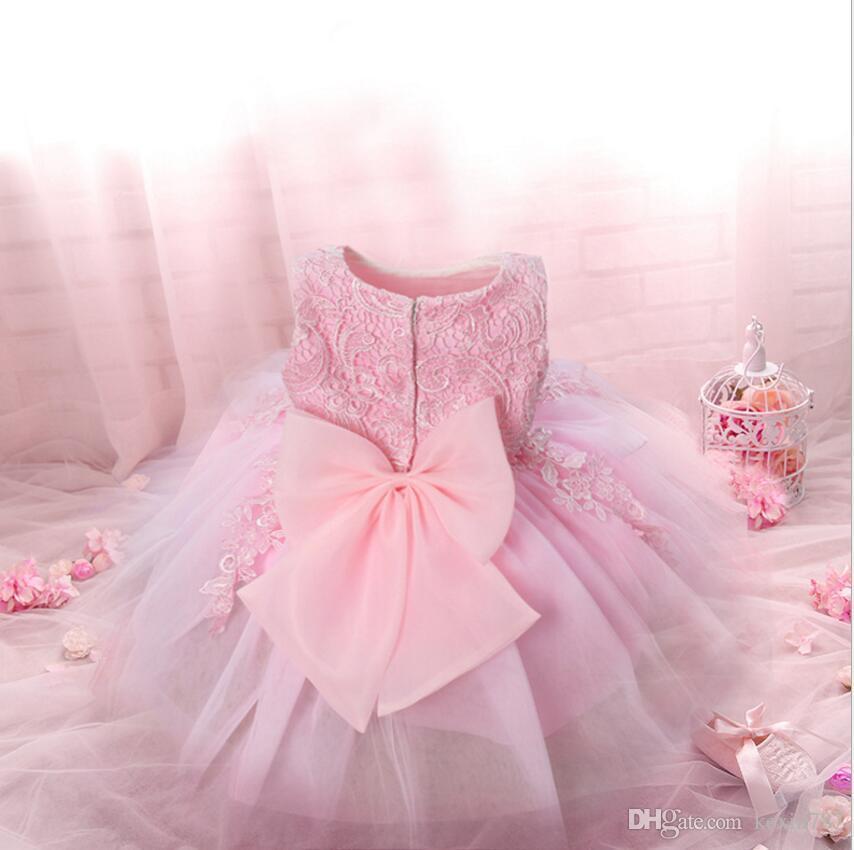 58cc53c22 Compre Bebé Recién Nacido Vestido Fiesta De Los Niños Traje De Princesa Para  Niña Tutu Bebes Infantil 0 2 Años Vestidos De Cumpleaños Niña Verano Ropa  Rosa ...