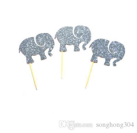 Custom 2017 30pcs silver Elephants Glitter Cupcake Toppers baby shower birthday cake toothpicks wedding topper Party Decoration Event