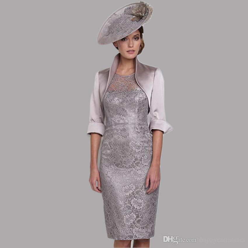 Großhandel Grau Silber Tee Länge Plus Size Mutter Der Braut Kleider ...