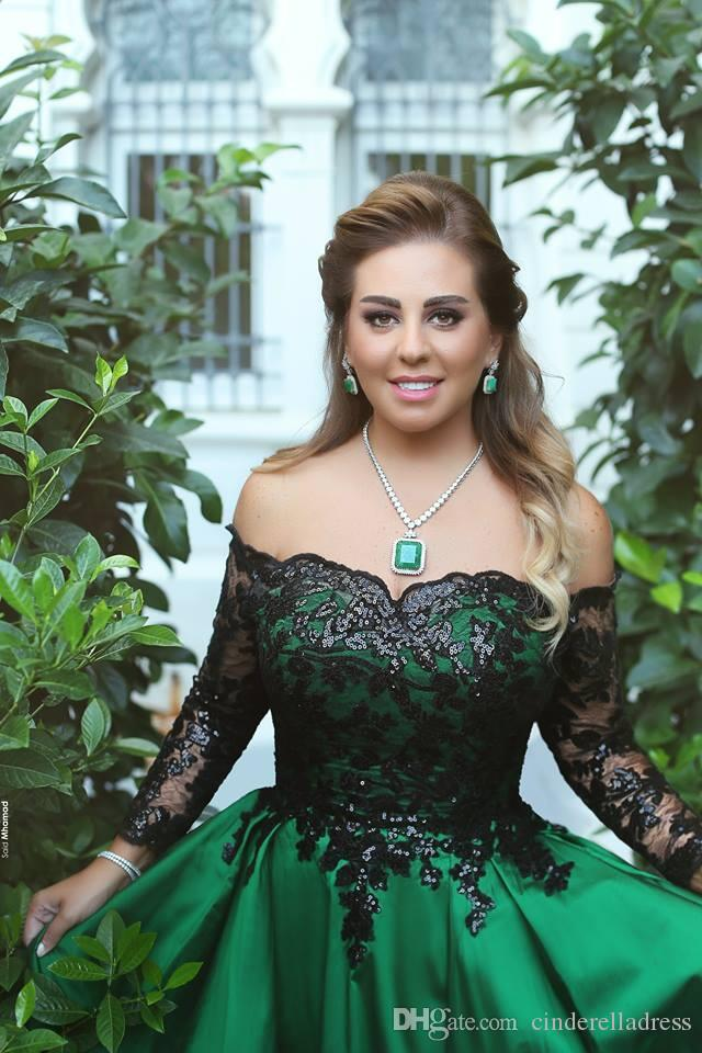 2019 Emerald Green Black Lace Top Long Sleeves Prom Dresses Off The Shoulder A Line Middle East Elegant Evening Gowns BC0778