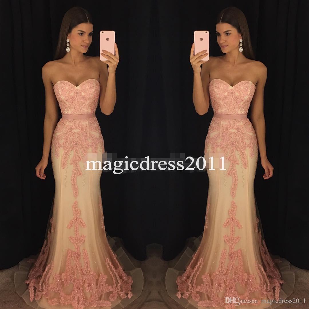 Modern Pinkl 2019 Prom Dresses sirena squisita perlina paillettes Sweetheart piano lunghezza abito da sera abito formale spettacolo usura del partito