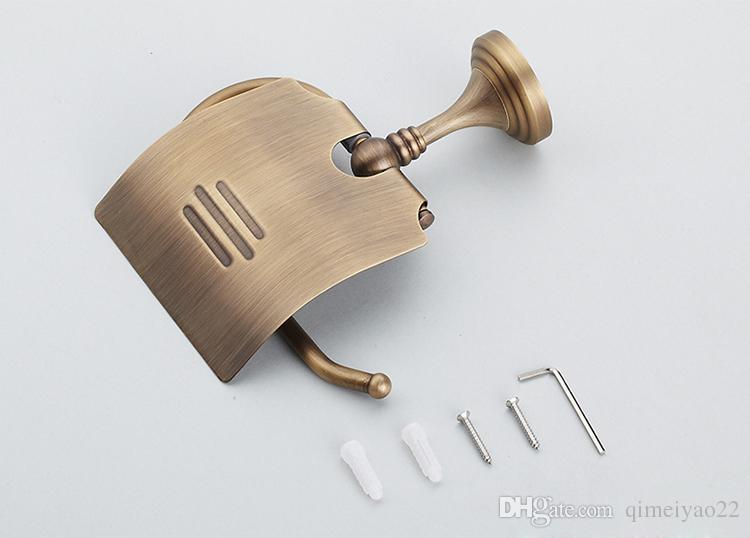 Titulaire de papier de toilette en cuivre complet en cuivre européen Rouleau de papier rouleau rétro classique Accessoires de salle de bains en laiton antique
