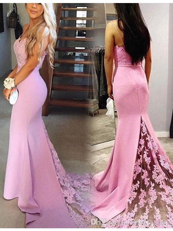Fitted Pink Lace Prom Dresses Spaghettti Applique Evening Party