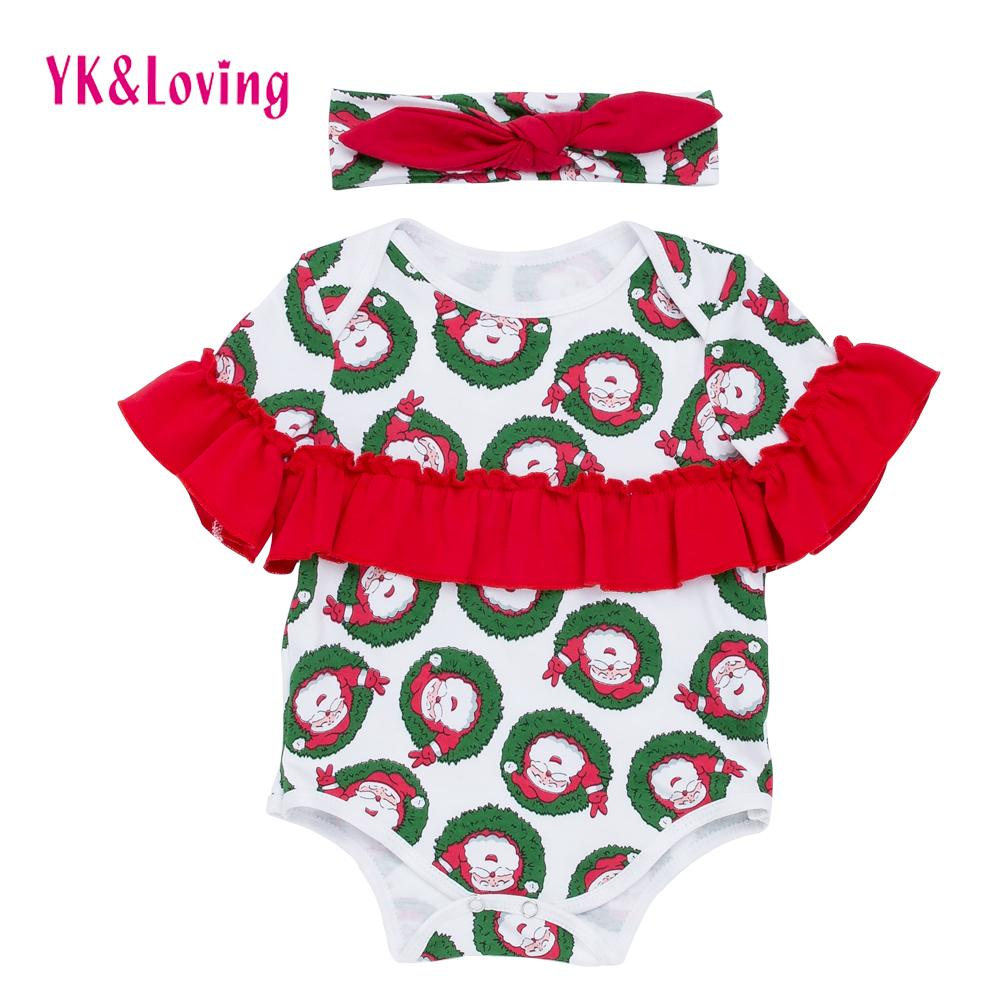 77d3255e6f7fd Baby Girls Jumpsuits Newborn Girls Cotton Kids Christmas Clothing ...