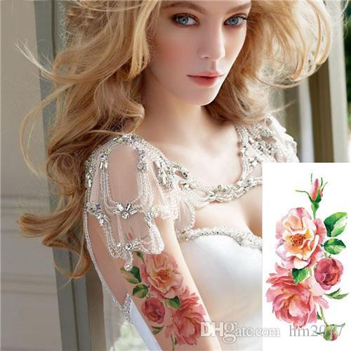 ارتفع الزهور الاصطناعية الذراع الكتف ملصقات الوشم فلاش الحناء الوشم وهمية للماء المؤقتة الوشم ملصق المرأة على الجسم