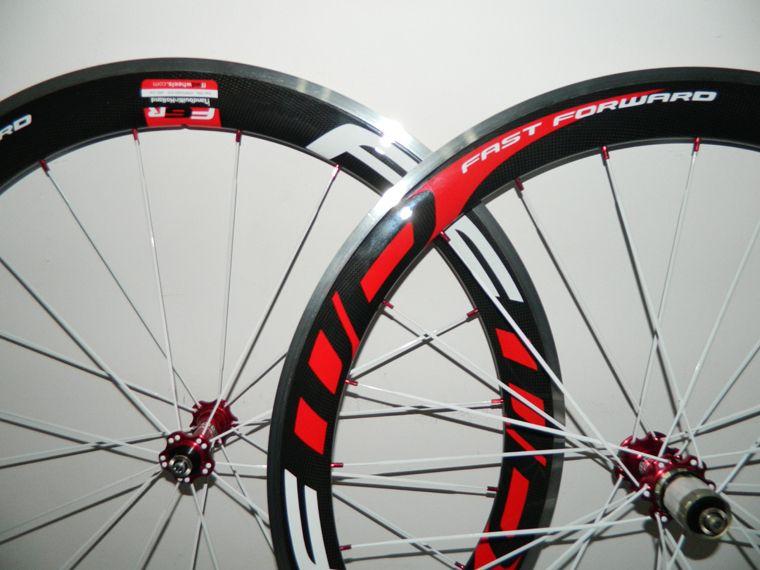 Alloy Brake Surface FFWD Carbon wheel 50mm Clincher Road Bike Wheelsets Carbon Aluminum Wheels Red powerwary R13 hub red nipples white spoke
