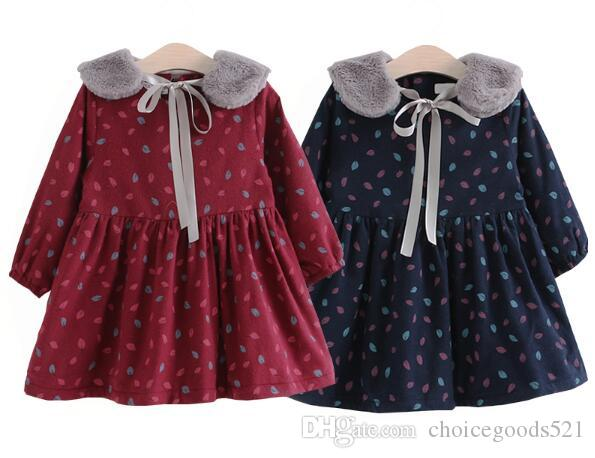 d3f802849aab 2019 Girls Dress Winter Fashion Children Leaves Printing Baby Girl ...