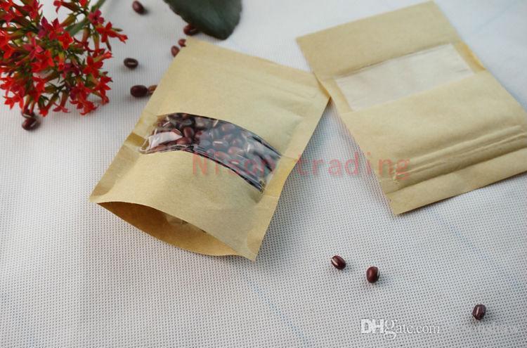 100 teile / los 14 * 20 cm stehend braun kraftpapier druckverschlussbeutel mit fenster aufstehen kaffeebohne handwerk papier sack staubdicht