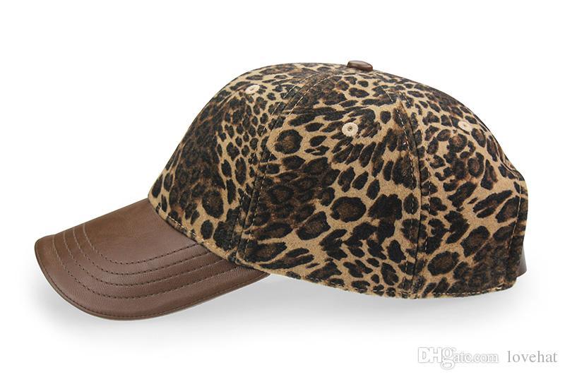 AUBREYRENE alta qualità 2017 nuovo disegno del leopardo berretto da baseball moda donna cappelli invernali le donne Golf Polo Hat