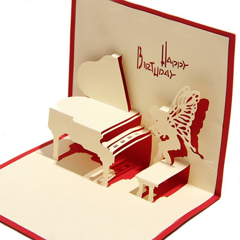 Piano Birthday Card 3D Kirigami Pop Up Handmade Angel Greeting Gift Cards Happy Day Free Digital E From Okbrand