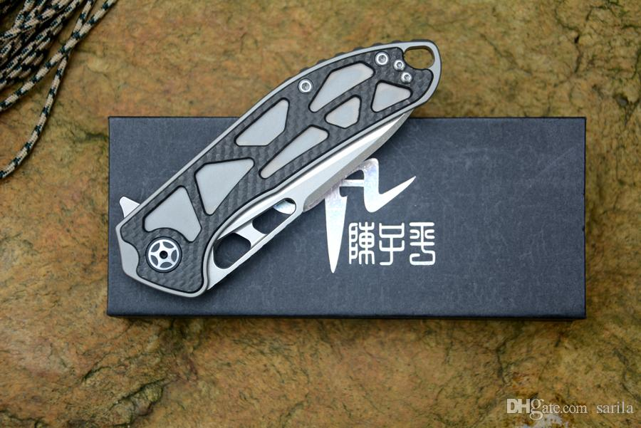 New CH3509 Folding knife D2 blade ceramic ball bearing washer TC4& CF handle Outdoor Camping Hunting Pocket knife for man gift