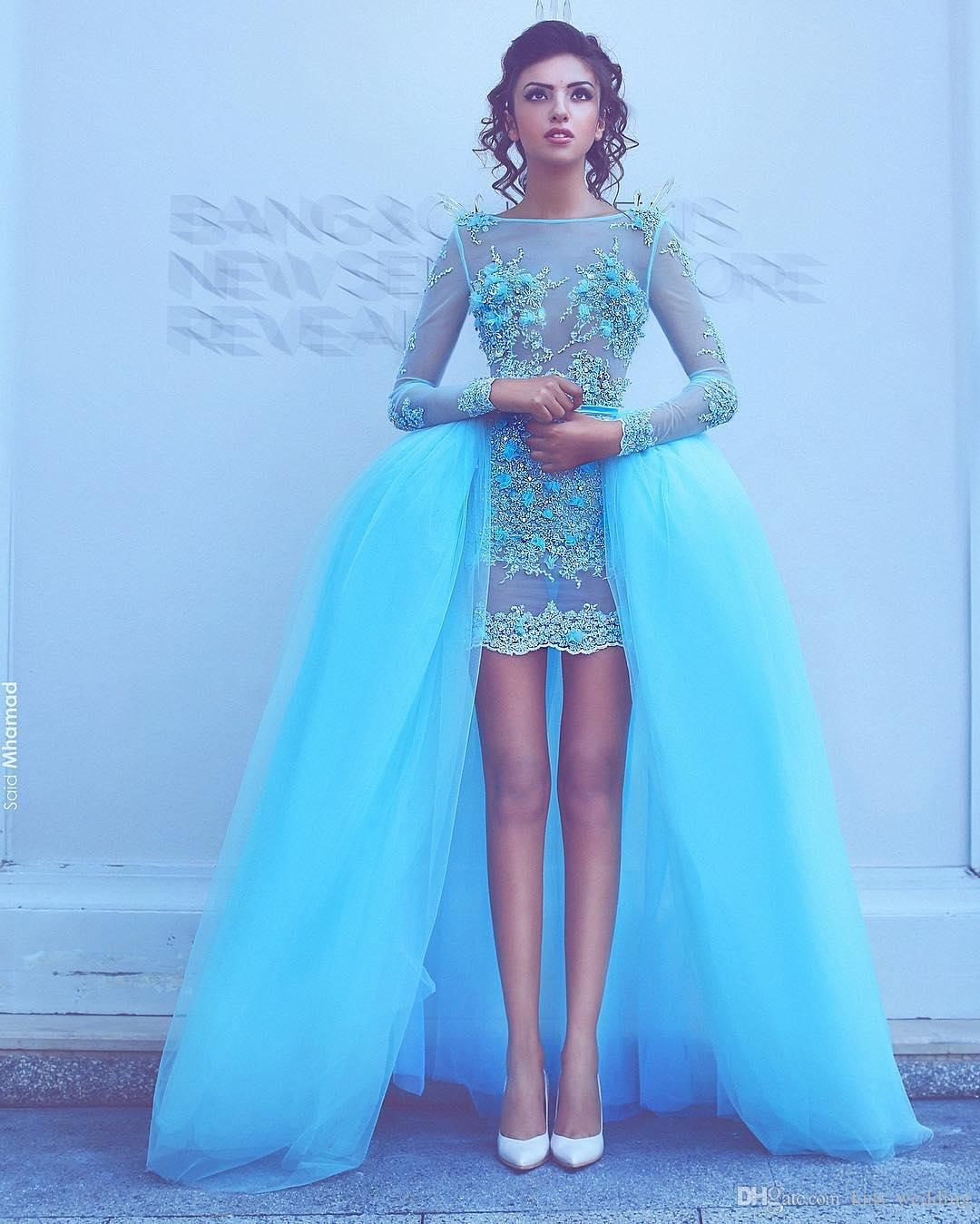 Unique Short Prom Dress Formal Occasion See Through Evening Dresses With Detachable Train Custom Made Tulle Women's Dress For Weddings
