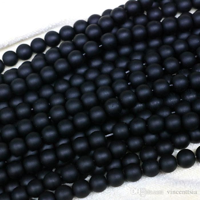negro ónix opaco pulido joyas de piedra natural hallazgos minerales granos sueltos gargantilla collar pendiente hombres pulsera mate