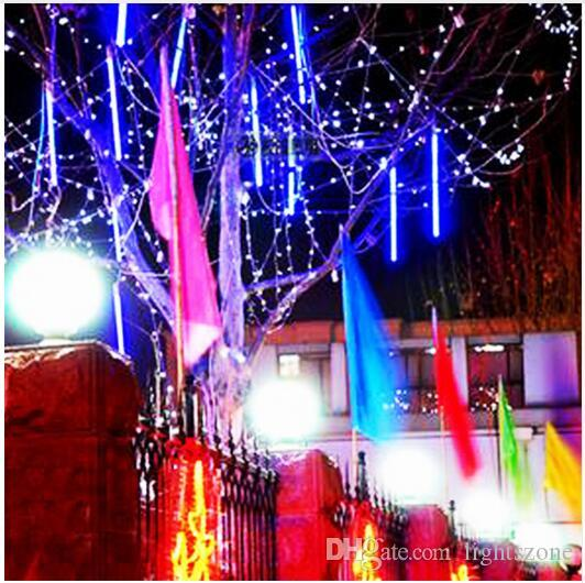 multi color 30cm meteor shower rain tubes ac100 240v led christmas lights wedding party garden xmas string light outdoor string of light bulbs string of