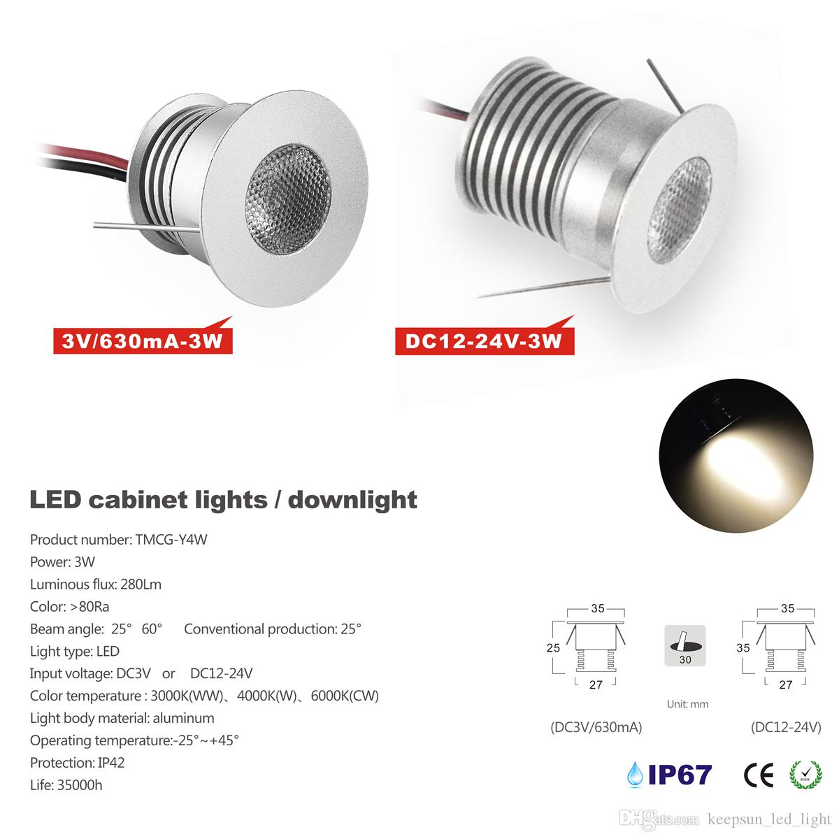 Modern 12v Kitchen Led Under Cabinet Lights Tubes 50cm: Mini Downlight 3W LED Cabinet Light With Cree Chip,Modern