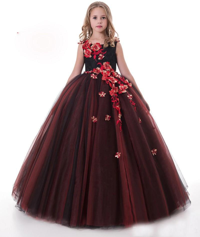Sleeveless Applique Flowers Ball Gown Pageant Dress For Girls 10 12 ...