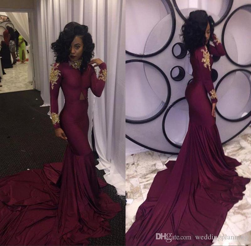 Luxury Burgundy South African Mermaid Prom Dresses 2017 High-neck Gold Appliques Ruffles Tiered Reception Long Sleeves Evening Dress Cheap
