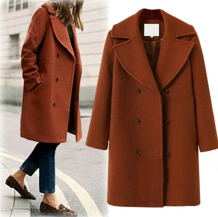 Woolen Mantel Damen Mantel Winter Damen Mantel Zweireiher Casual Revers  Hals Mäntel Mode Losen Wolle Trenchcoat d3c5a609c6