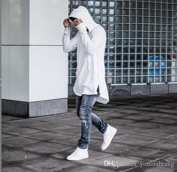 Venta al por mayor envío gratis estilo británico hombres Hoodies Hip Hop Streetwear larga cremallera Arc Cut extendido sudaderas Tyga ropa deportiva ropa