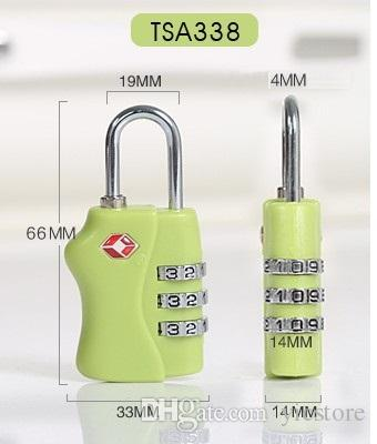 Customs Luggage Padlock TSA338 Resettable 3 Digit Combination Padlock Suitcase Travel Lock TSA locks