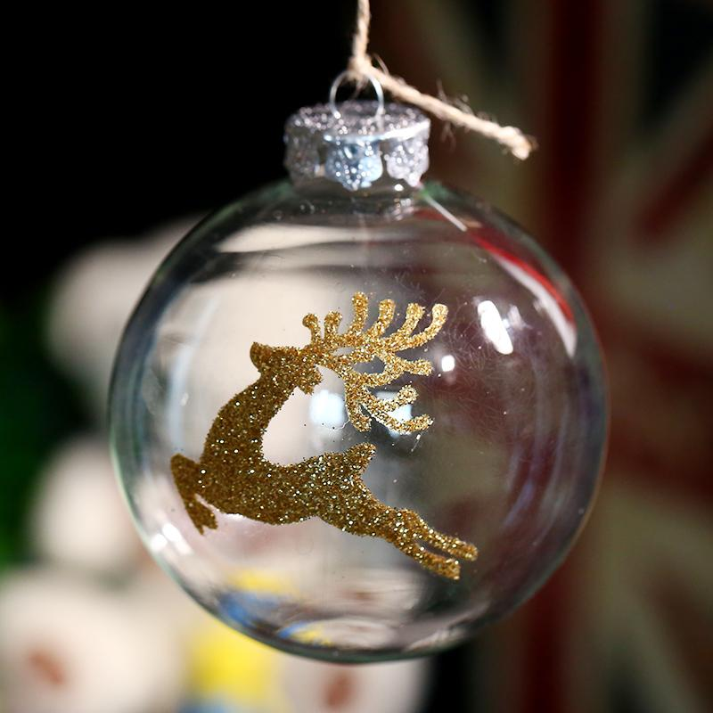 Clear Glass Ball Ornament Christmas Decoration / Gold Deer / Party ...