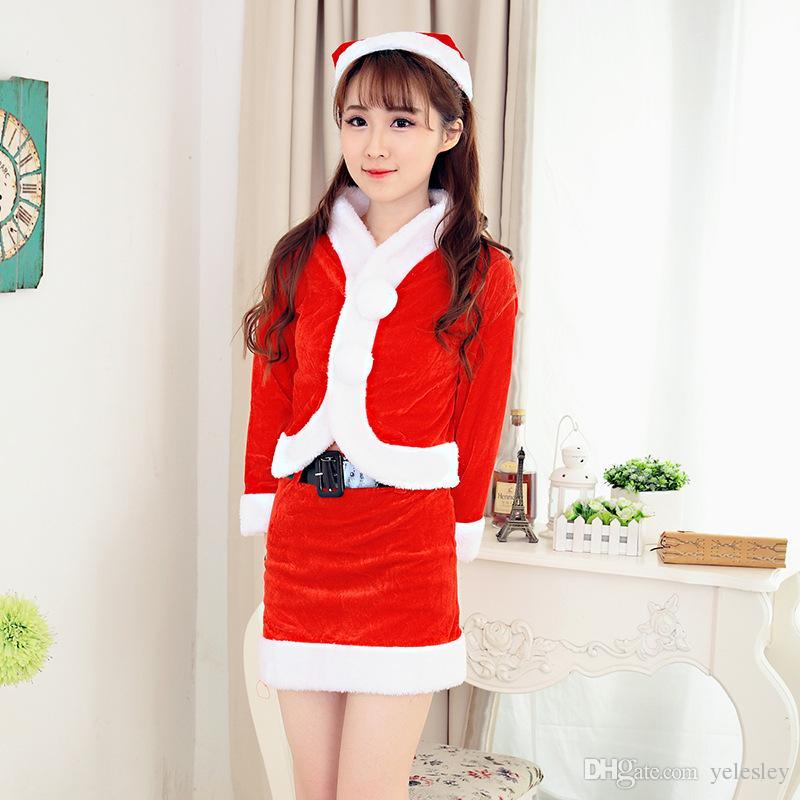 Abito da donna Natale Abito da donna Sexy da donna Colore rosso Santa Costume da donna Mrs Party Fancy Dress Vestido