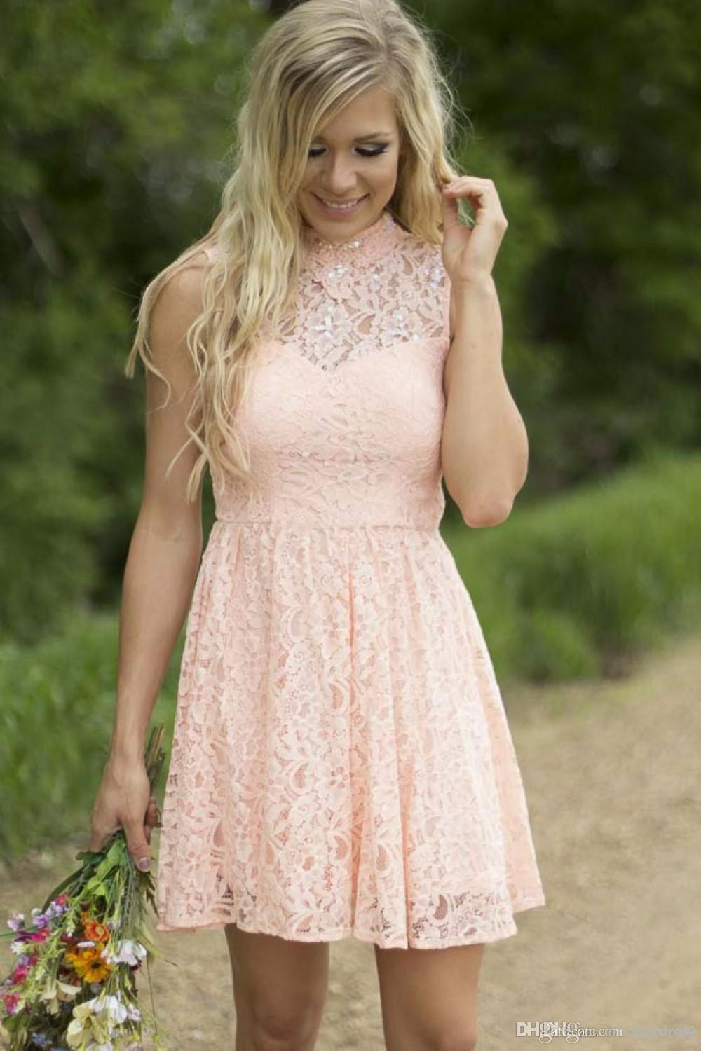 Modest Country Western Full Lace Peach Short Lace Bridesmaid Dresses A Line High Neck Sleeveless Wedding Party Formal Wear