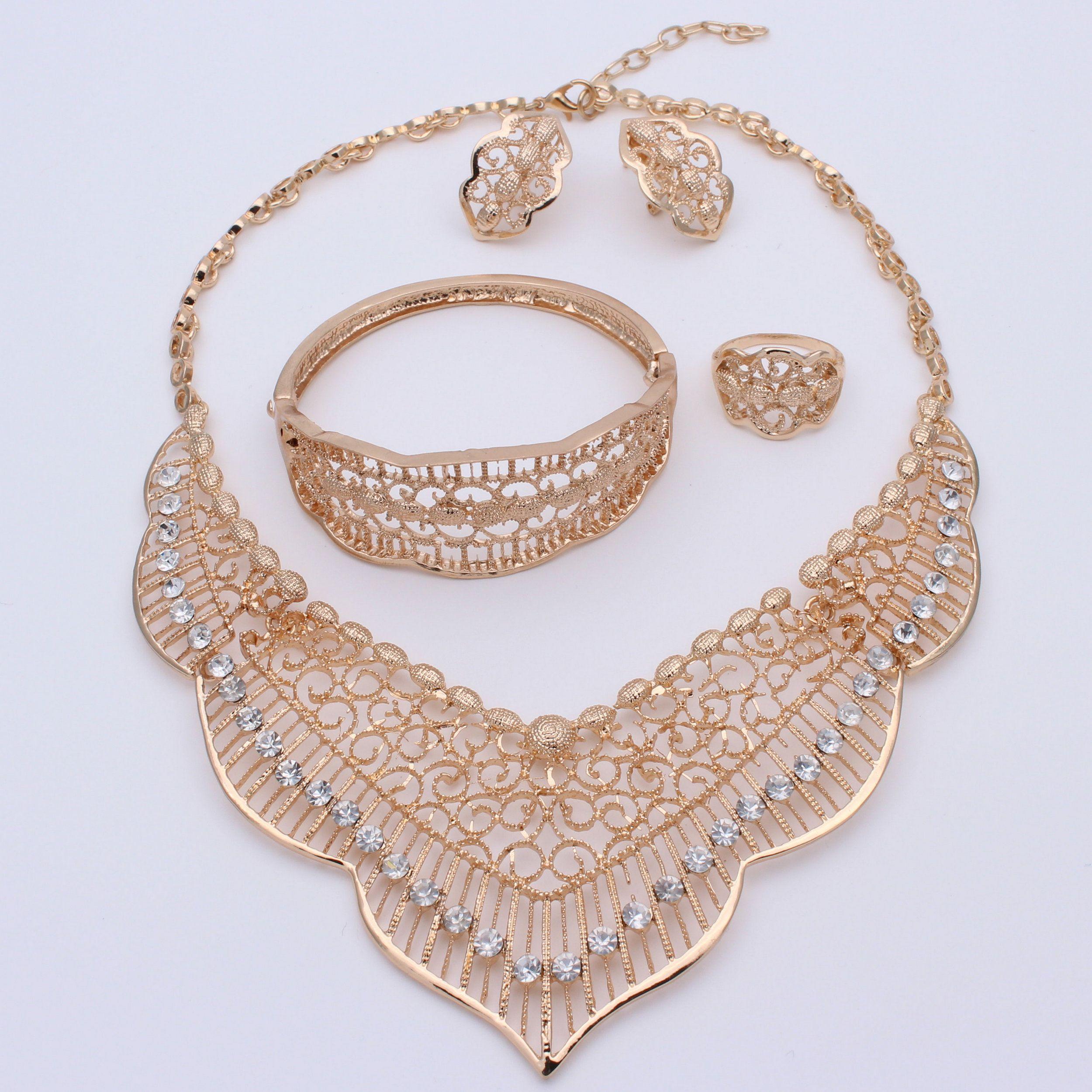 2018 New Fashion Bridal Jewelry Sets Dubai Gold Plated Costume Big